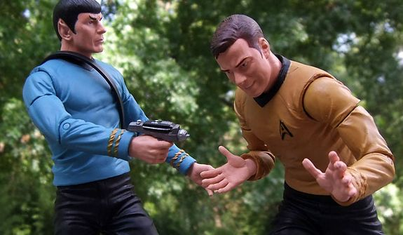 Diamond Select Toys' Mr. Spock aims his phaser at Captain Kirk before he starts singing another Elton John song. (Photo by Joseph Szadkowski / The Washington Times)