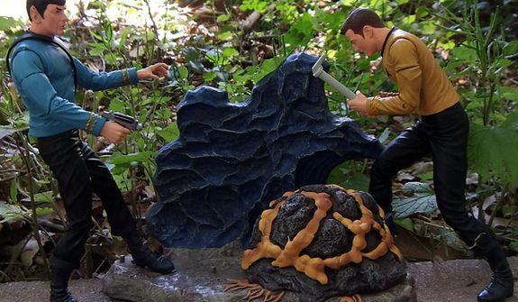 Diamond Select Toys' Mr. Spock and Captain attack the Horta. (Photo by Joseph Szadkowski / The Washington Times)