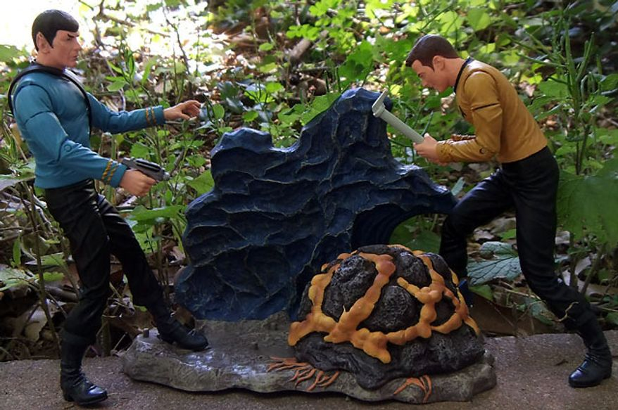 Diamond Select Toys' Mr. Spock and Captain attack the Horta. (Photo by Joseph Szadkowski / The Washington Times)