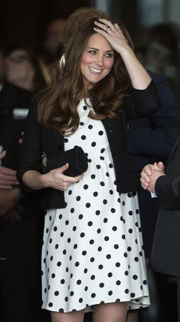 "FILE - In this Friday, April 26, 2013 file photo Kate the Duchess of Cambridge, her husband Prince William and his brother Prince Harry, both not pictured, leave after attending the inauguration of ""Warner Bros. Studios Leavesden"" near Watford, approximately 18 miles north west of central London.  Prince William's wife Kate has been admitted to the hospital in early stages of labor it was announced on Monday July 22, 2013. (AP Photo/Matt Dunham, File)"