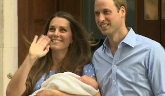 In this image from video, The Duke and Duchess of Cambridge leave the Lindo Wing of St. Mary's Hospital in London, Tuesday, July 23 2013, carrying their newborn son, the Prince of Cambridge who was born Monday, into public view for the first time. The boy will be third in line to the British throne. (AP Photo/APTN)