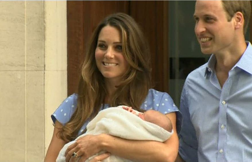 ** FILE ** In this image from video, The Duke and Duchess of Cambridge leave the Lindo Wing of St Mary's Hospital in London Tuesday July 23 2013, carrying their newborn son, the Prince of Cambridge. The boy will be third in line to the British throne. (AP Photo/APTN)