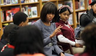 ** FILE ** In this April 10, 2013, file-pool photo, first lady Michelle Obama talks to students at Harper High School in Chicago. (AP Photo/Nancy Stone, Pool)