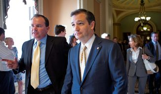 """Sen. Ted Cruz, Texas Republican, (right) and Sen. Mike Lee, Utah Republican, both see an effort by the Obama adminstration to """"pack"""" the D.C. Circuit Court with left-leaning judges. """"With the administration's controversial executive agenda, the president appears to have targeted the D.C. Circuit in hopes he can pack the court and stack the deck to his advantage,"""" Mr. Lee said. (Associated Press)"""