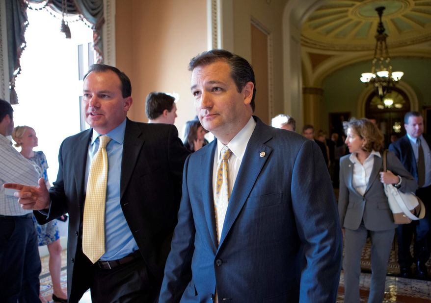"Sen. Ted Cruz, Texas Republican, (right) and Sen. Mike Lee, Utah Republican, both see an effort by the Obama adminstration to ""pack"" the D.C. Circuit Court with left-leaning judges. ""With the administration's controversial executive agenda, the president appears to have targeted the D.C. Circuit in hopes he can pack the court and stack the deck to his advantage,"" Mr. Lee said. (Associated Press)"