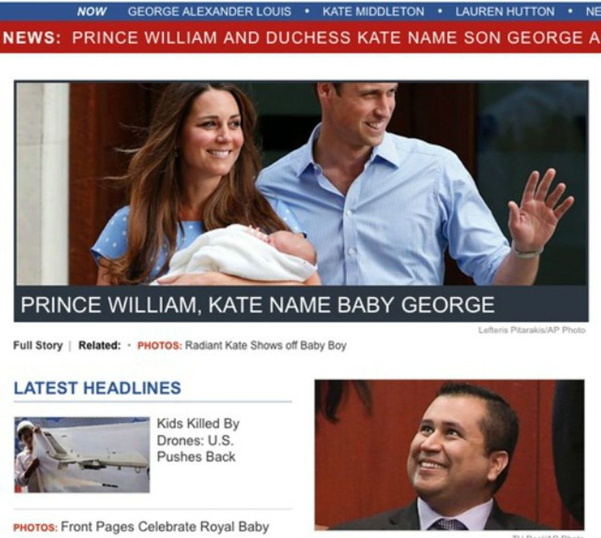 An ABC screenshot with curious placement of a story of the royal baby Prince George and George Zimmerman. (Image: ABC News)