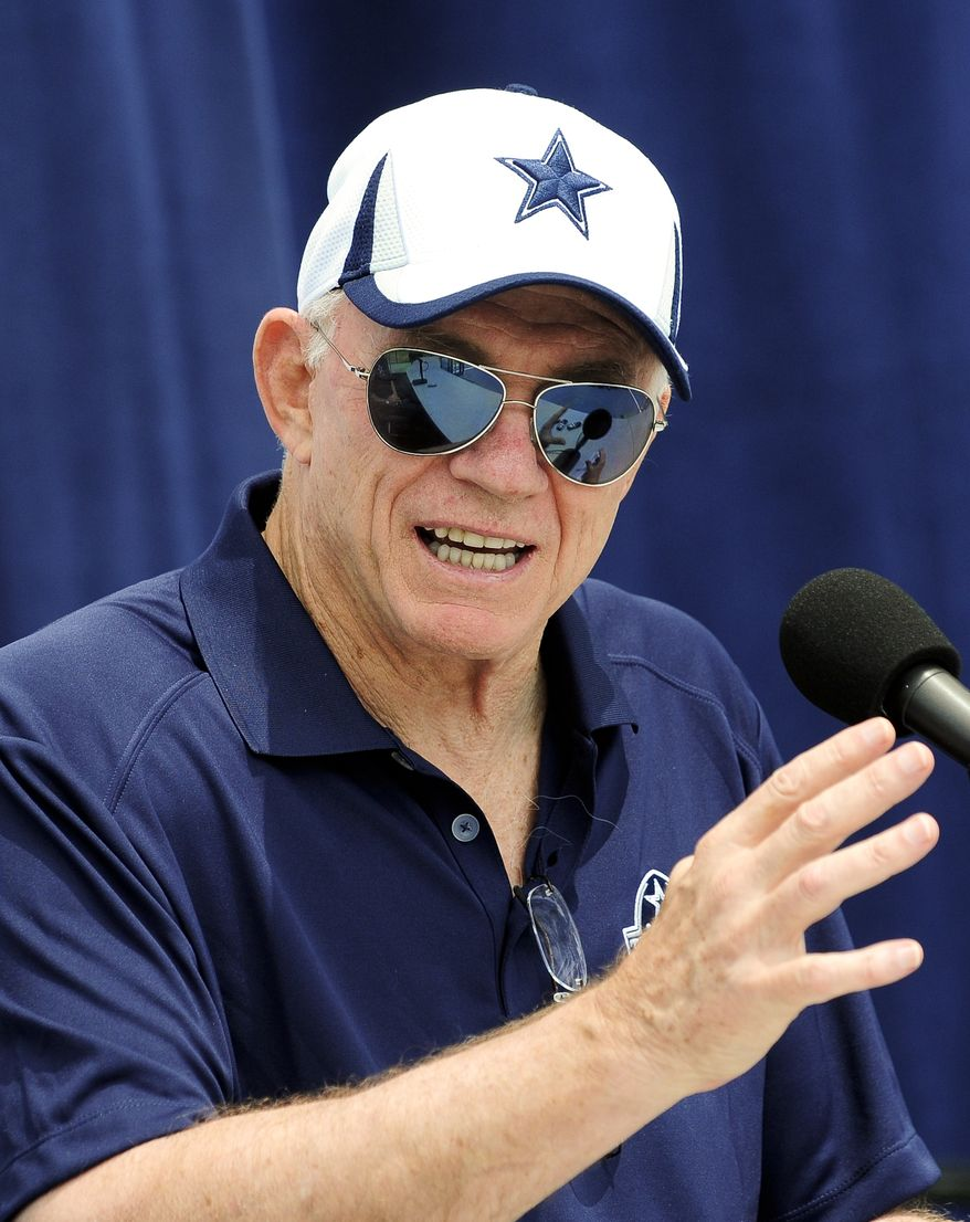 Dallas Cowboys owner Jerry Jones address the media during the State of the Cowboys address at the team's NFL football training camp, Saturday, July 20, 2013, in Oxnard, Calif. (AP Photo/Gus Ruelas)