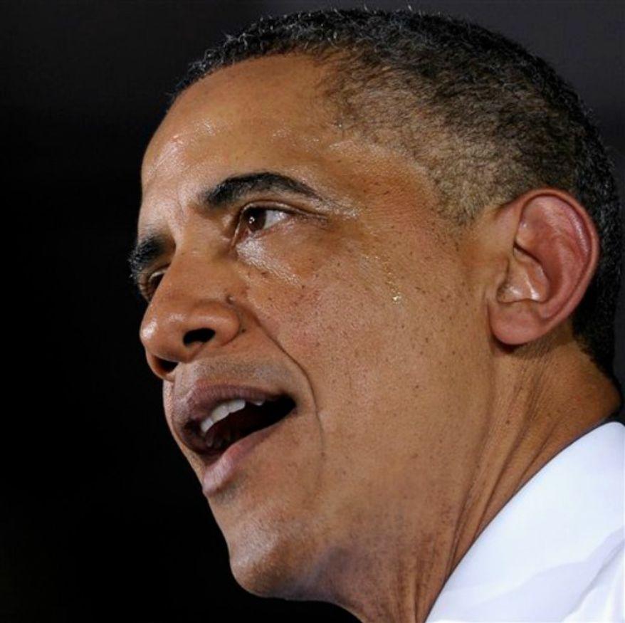President Obama speaks at the Jacksonville Port in Jacksonville, Fla., Thursday, July 25, 2013. (AP Photo/Susan Walsh)