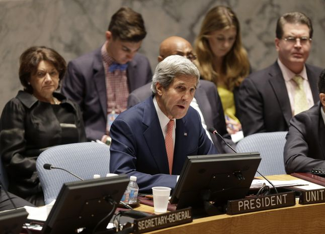 U.S. Secretary of State John Kerry speaks in a security council meeting at United Nations Headquarters in New York, Thursday, July 25, 2013. (AP Photo/Seth Wenig)