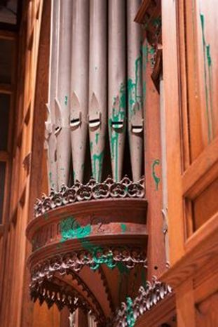Green paint was found Monday on the organ in the Bethlehem Chapel (below) at the Washington National Cathedral, the third case of such vandalism in the District in four days.