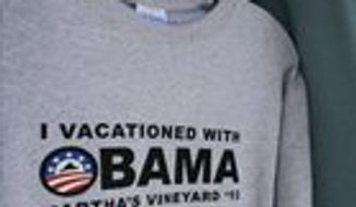 ** FILE ** President Obama went to Martha's Vineyard, and all I got was this lousy T-shirt.