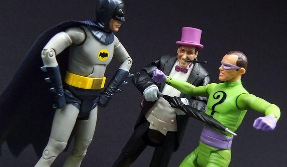 Mattel's Batman stands against The Penguin and The Riddler. (Photograph by Joseph Szadkowski / The Washington Times)