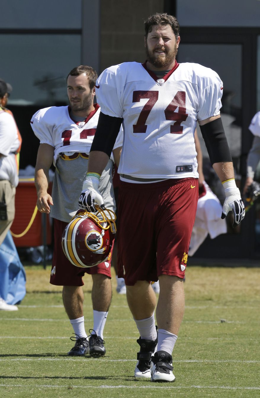 Washington Redskins tackle Tyler Polumbus (74) walks to the field during the afternoon practice at the NFL football teams training camp in Richmond, Va. Monday, July 29, 2013. (AP Photo/Steve Helber)