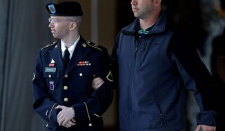 Army Pfc. Bradley Manning was acquitted of aiding the enemy, the most serious charge against him, but the judge's verdicts suggest that leakers' intent does not matter when it comes to national security matters. (Associated Press)