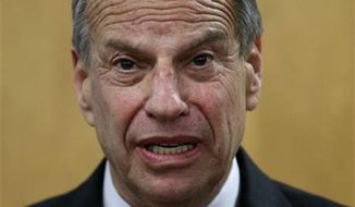 ** FILE ** Then-San Diego Mayor Bob Filner speaks during a news conference at city hall, Friday, July 26, 2013, in San Diego.  (AP Photo/Gregory Bull)