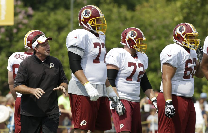 Washington Redskins offensive line coach Chris Forester directs his players during afternoon practice at the NFL football teams training camp in Richmond, Va. Tuesday, July 30, 2013. (AP Photo/Steve Helber)