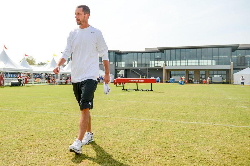 Washington Redskins offensive coordinator Kyle Shanahan during teamwalkthroughs at the Bon Secours Washington Redskins Training Center, Richmond, Va., Tuesday, July 30, 2013. (Andrew Harnik/The Washington Times)