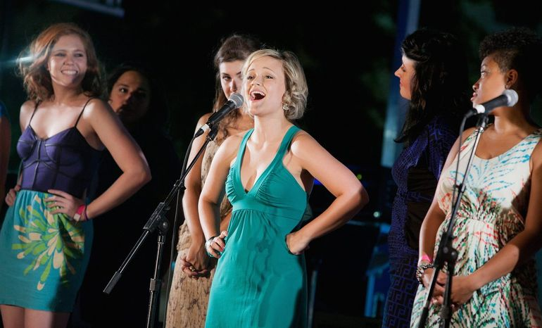 "Erin Driscoll will perform ""Barbara Cook's Songbook,"" a celebration of the Tony Award-winning Broadway soprano famous for her roles in ""The Music Man"" and ""Candide."" Erin Driscoll (center) during a performance from last summers music series at Signature. (Photo by Christopher Mueller)"