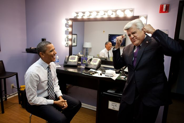 """President Barack Obama and Jay Leno joke backstage before taping """"The Tonight Show with Jay Leno"""" in Burbank, Calif., Oct. 25, 2011. (Official White House Photo by Pete Souza)"""