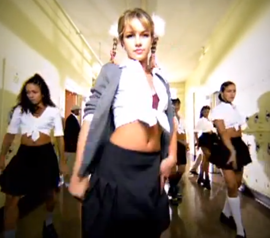 A screen shot of singer Britney Spears in a racy schoolgirl outfit.