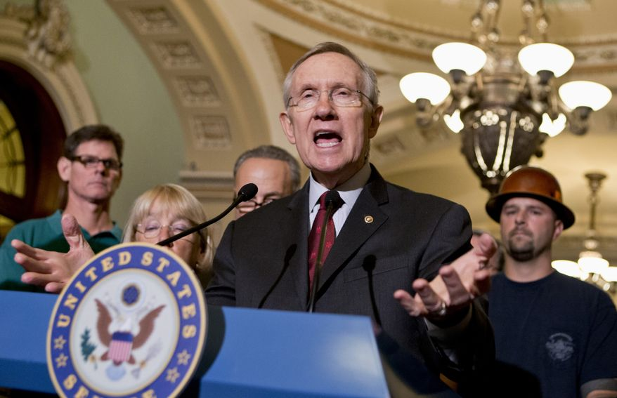 **FILE** Senate Majority Leader Harry Reid, Nevada Republican, speaks Aug. 1, 2013, on Capitol Hill in Washington. (Associated Press)