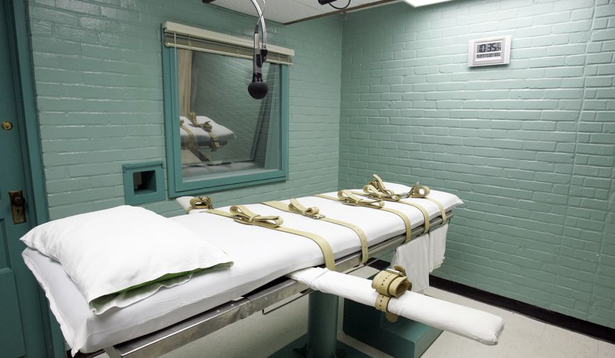 The gurney in the death chamber is shown in this May 27, 2008, file photo from Huntsville, Texas. (AP Photo/Pat Sullivan, File) ** FILE **