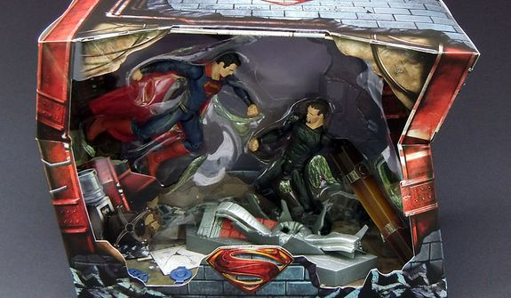 Mattel's 2013 San Diego Comic Con exclusive diorama Man of Steel: Superman versus General Zod features two figures along with sound and light effects. (Photograph by Joseph Szadkowski / The Washington Times)