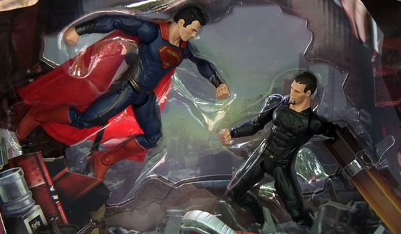 A close up of Mattel's 2013 San Diego Comic Con exclusive diorama Man of Steel: Superman versus General Zod. (Photograph by Joseph Szadkowski / The Washington Times)