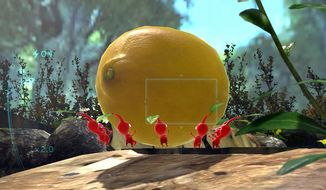 Red Pikmin struggle with carrying a Face Wrinkler in the video game Pikmin 3.