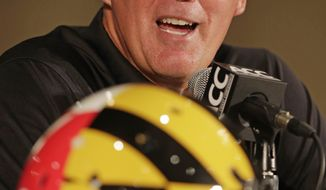 Maryland head coach Randy Edsall speaks to the media at a news conference during the Atlantic Coast Conference college football media day in Greensboro, N.C., Monday, July 22, 2013. (AP Photo/Chuck Burton)