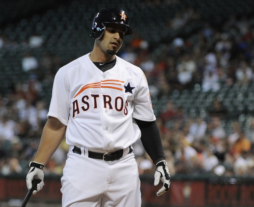 FILE -- Houston Astros' Fernando Martinez, now a member of the New York Yankees organization, reacts to striking out to end the first inning of a baseball game against the Pittsburgh Pirates, Saturday, Sept. 22, 2012, in Houston. (AP Photo/Pat Sullivan)