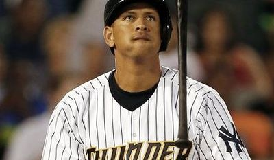 FILE -- New York Yankees' Alex Rodriguez flips his bat after missing a pitch in the fifth inning of a Class AA baseball game with the Trenton Thunder against the Reading Phillies Saturday, Aug. 3, 2013, in Trenton, N.J. (AP Photo/Rich Schultz)