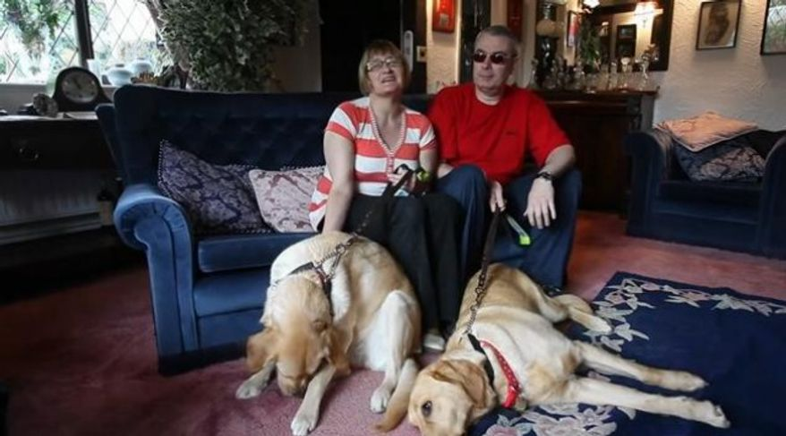 Claire Johnson and Mark Gaffey with their dogs in this YouTube screen grab.