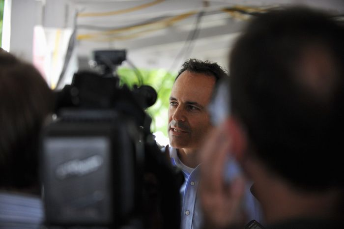 Matt Bevin speaks to the media after the 133rd annual Fancy Farm picnic in Kentucky on Saturday. Mr. Bevin is challenging Minority leader Sen. Mitch McConnell in the Republican primary for U.S. Senate. (Associated Press)