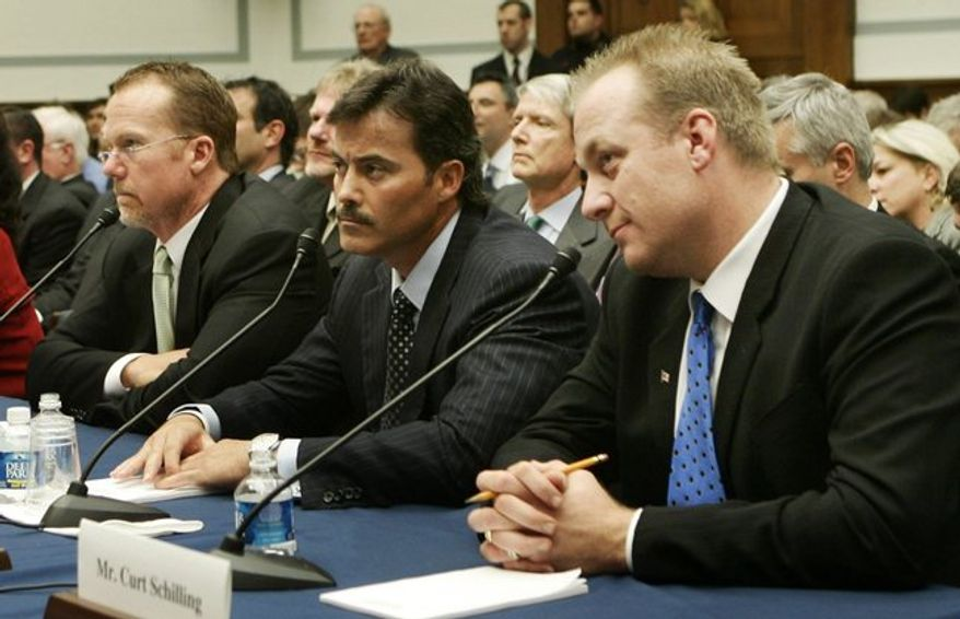 After President George W. Bush put the spotlight on performance-enhancing drugs in Major League Baseball, players (from left) Mark McGwire, Rafael Palmeiro and Curt Schilling were called to testify before lawmakers on Capitol Hill. (Associated Press)