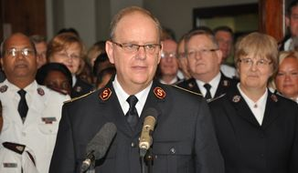 General Andre Cox speaks Aug. 3 in London shortly after being elected as the Salvation Army's new international leader. (salvationarmy.org)