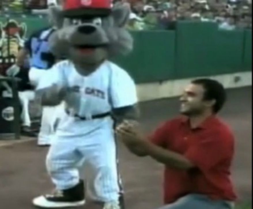 """Donald Salvesen, who watched a marriage proposal rejection in front of a stadium of people at a minor league baseball game in New Britain, Conn., tweeted, """"At the #rockcats game and we witnessed a rejected, on field marriage proposal. The crowd gasped, the players were laughing as the girl ran off humiliated. Very bizarre moment."""" The proposal was later revealed to be a hoax by the team. (YouTube)"""
