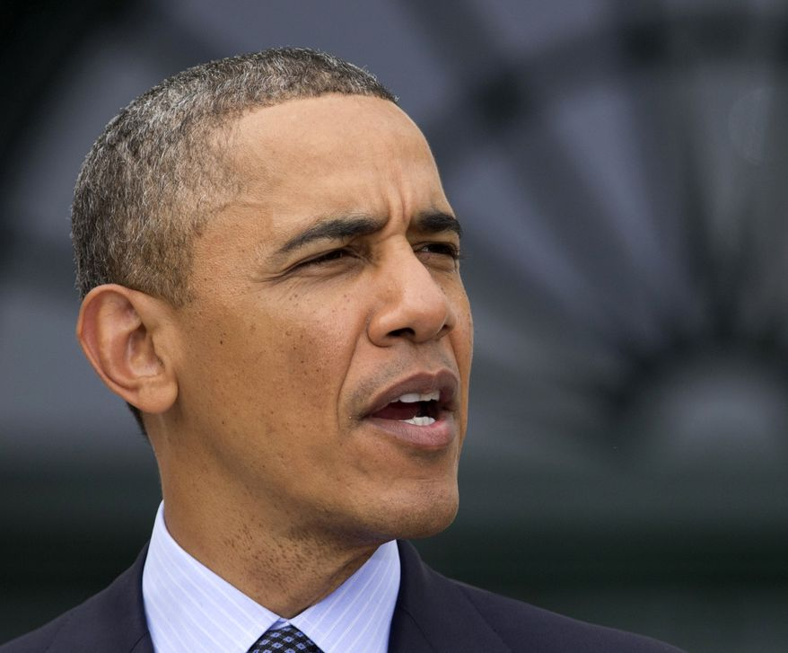 **FILE** President Obama speaks on the South Lawn of the White House in Washington on April 17, 2013. (Associated Press)