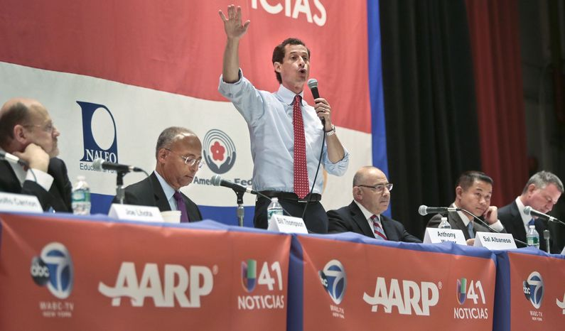 New York mayoral candidates Joe Lhota, far left, Bill Thompson, second from left, Anthony Weiner, third from left, Sal Albanese, third from right, John Liu, second from right, and Bill de Blasio, far right, participate in AARP's town hall forum on Tuesday, Aug. 6, 2013, at Hunter College in New York. All invited candidates, except Christine Quinn who did not attend, laid out their positions on key issues before an audience of largely age 50 and over voters. (AP Photo/Bebeto Matthews)