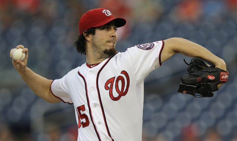 Washington Nationals right-hander Dan Haren pitched seven strong innings Friday night in the Nationals' 9-2 win over the Philadelphia Phillies. (Associated Press photo)