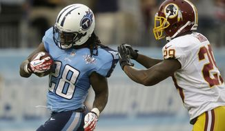 Tennessee Titans running back Chris Johnson (28) gets away from Washington Redskins defender Bacarri Rambo (29) while running 58 yards for a touchdown in the first quarter of a preseason NFL football game on Thursday, Aug. 8, 2013, in Nashville, Tenn. (AP Photo/Wade Payne)