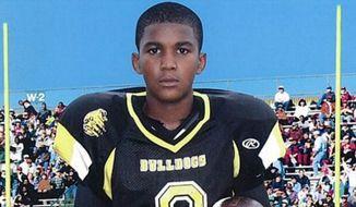 A young Trayvon Martin in his football uniform. (BET screen shot)
