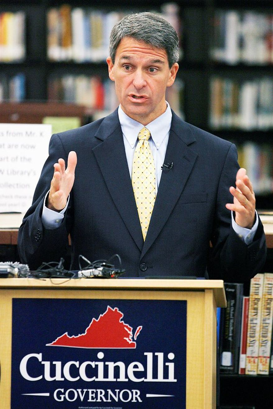 The Republican Governors Association has given more than $4.6 million in contributions and in-kind donations to GOP gubernatorial candidate Kenneth T. Cuccinelli II, shown speaking Tuesday at Maggie L. Walker Governor's School in Richmond. (Richmond Times-Dispatch via Associated Press)