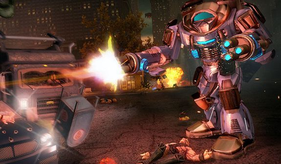 Jump into a mech suit and cause major damage in the video game Saints Row IV.