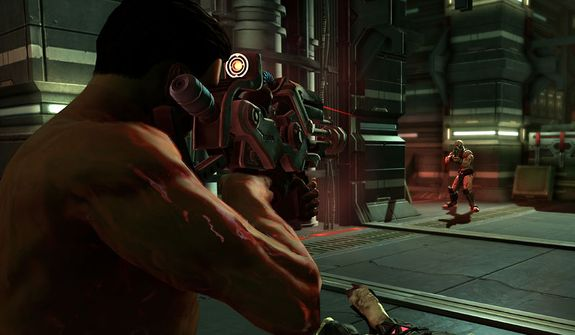 A naked president escapes and attacks his captors in the video game Saints Row IV.