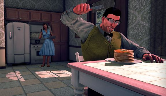 Have some pancakes before stopping an alien invasion in the video game Saints Row IV.