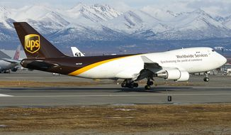 A generic photo of a UPS cargo plane.