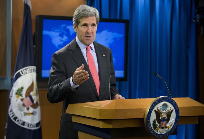 Secretary of State John Kerry speaks about the ongoing situation in Egypt before the start of a press briefing at the State Department in Washington on Aug. 14, 2013. Kerry said the violence in Egypt is deplorable and is a serious blow to reconciliation efforts. (Associated Press)