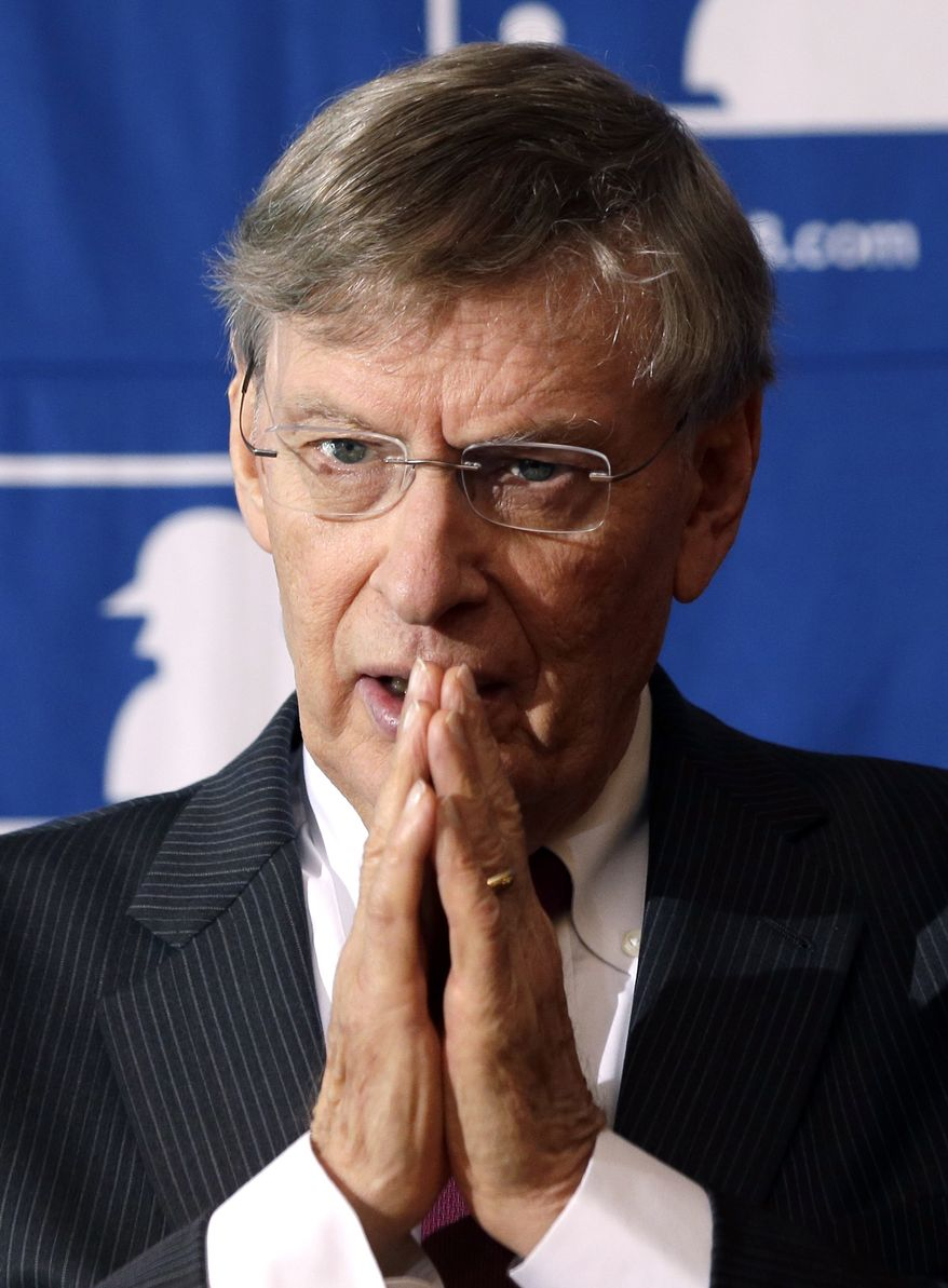 Major League Baseball Commissioner Bud Selig speaks during a news conference following baseball meetings at the Otesaga Hotel on Thursday, Aug. 15, 2013, in Cooperstown, N.Y. (AP Photo/Mike Groll)