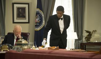 "Robin Williams as Dwight Eisenhower, left, and Forest Whitaker as Cecil Gaines in a scene from ""Lee Daniels' The Butler."" (AP Photo/The Weinstein Company, Anne Marie Fox)"